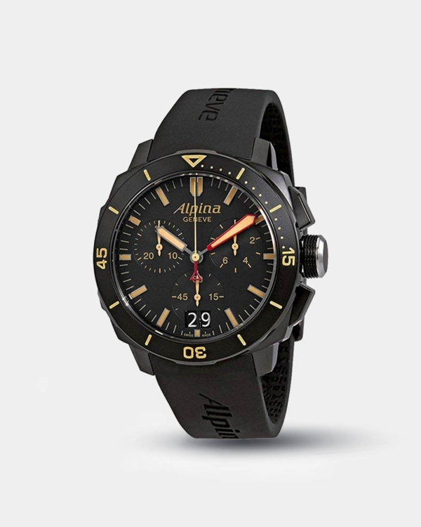 Alpina Seastrong Diver 300 Black Dial Silicone Strap Men's Watch