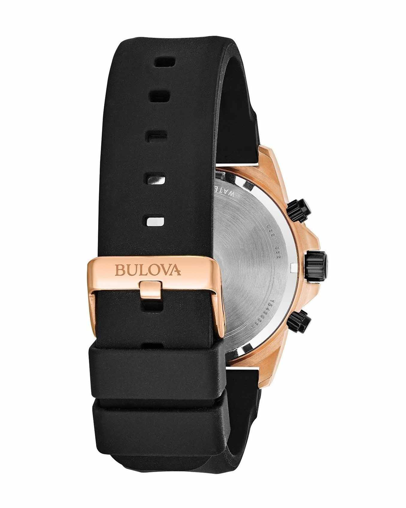 Bulova Marine Star Black Dial Silicone Strap Men's Watch