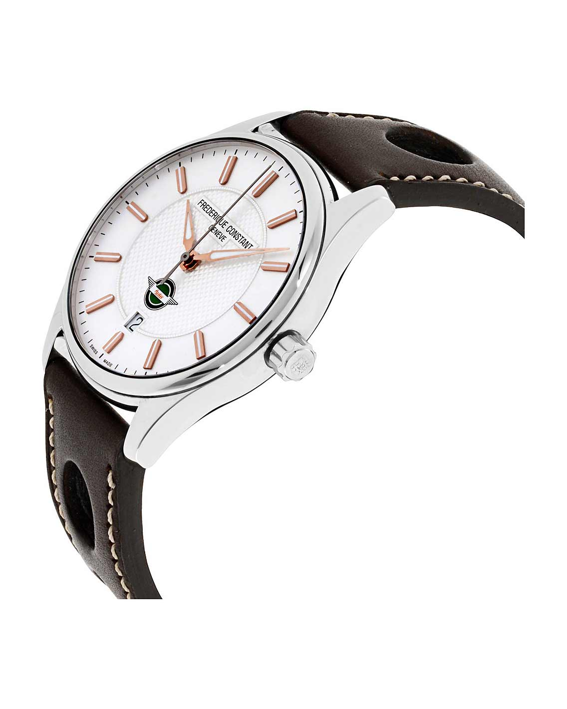 Frederique Constant Healey Silver Dial Leather Strap Men's Watch