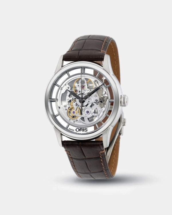 Oris Artelier Translucent Skeleton Dial Leather Strap Men's Watch