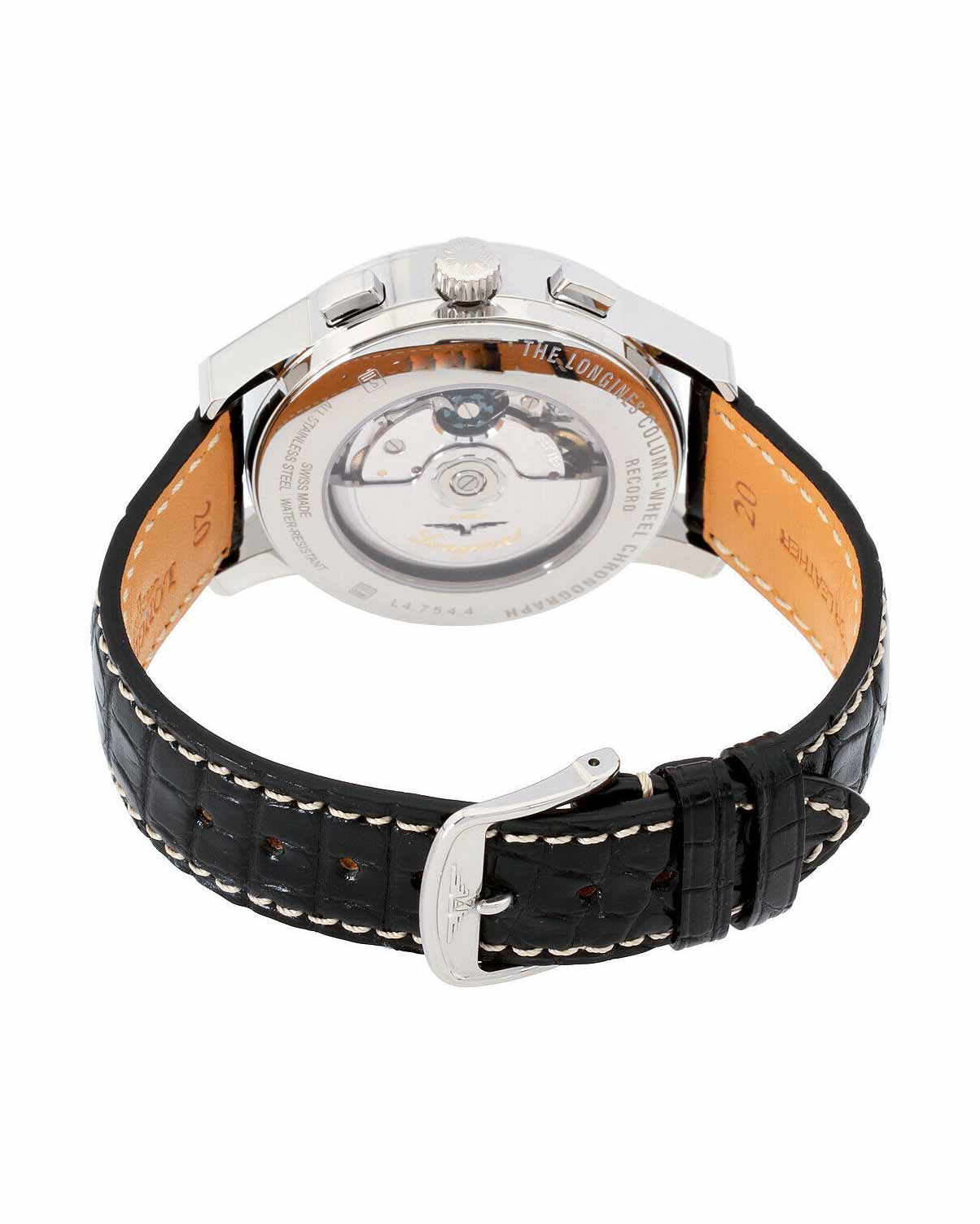 Longines Heritage Black Dial Leather Strap Men's Watch