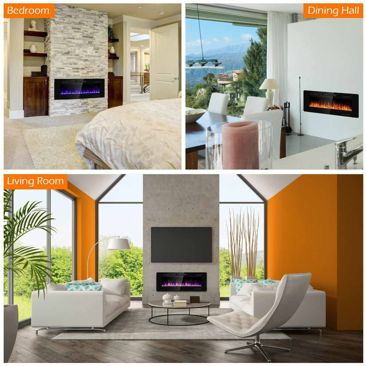 """50"""" Recessed Ultra Thin Mounted Wall Electric Fireplace"""