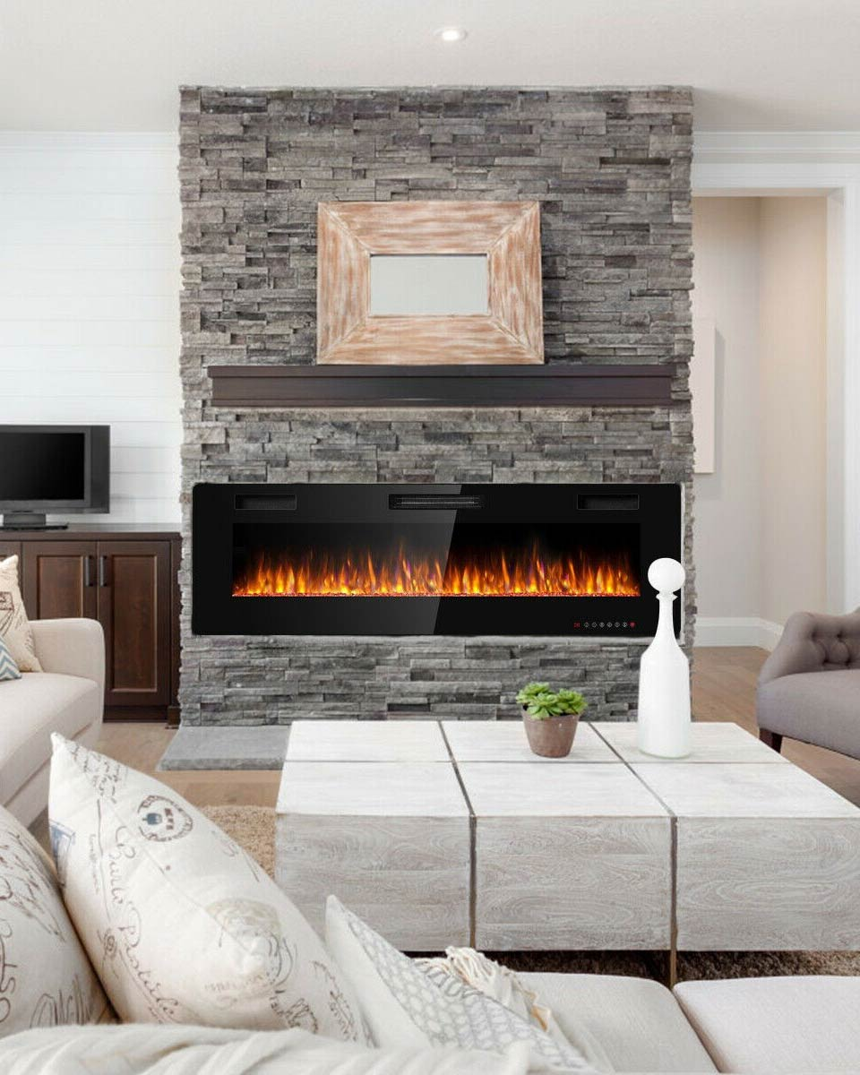 "60"" Recessed Ultra Thin Mounted Wall Electric Fireplace"