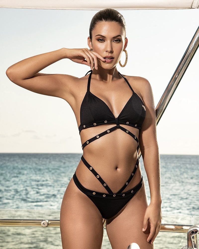 Mapale Black Strappy Two-Piece Swimsuit 1