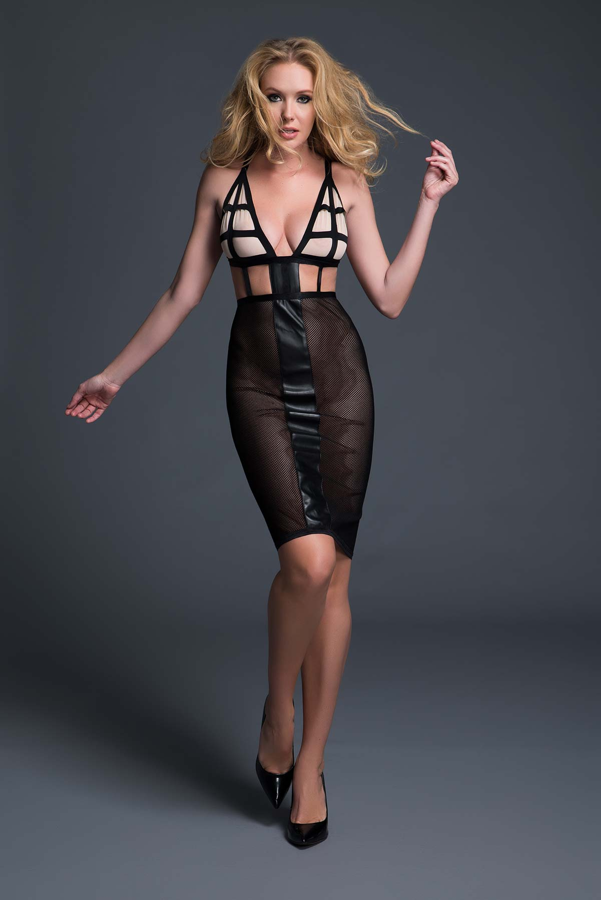 Almost Nude Elegance With a Twist, Mesh Dress
