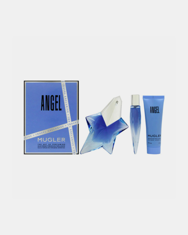 Angel by Thierry Mugler -- Gift Set - 1.7 oz Eau De Parfum Spray Refillable + 0.3 oz Mini EDP Purse Spray + 1.7 oz Shower Gel for Women