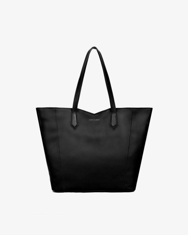 Black Leather Zippered Tote Bag
