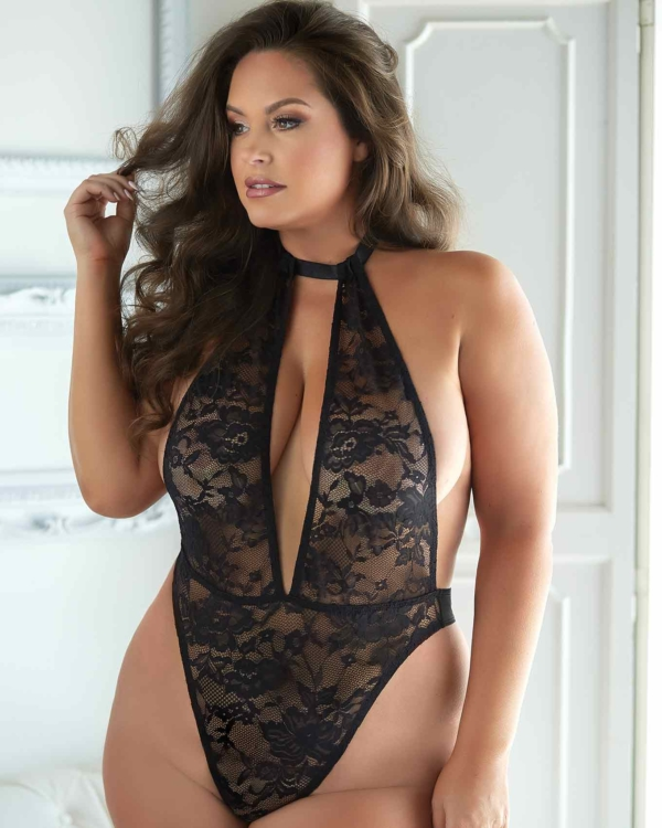 Brooke Lace & Mesh Halter Teddy