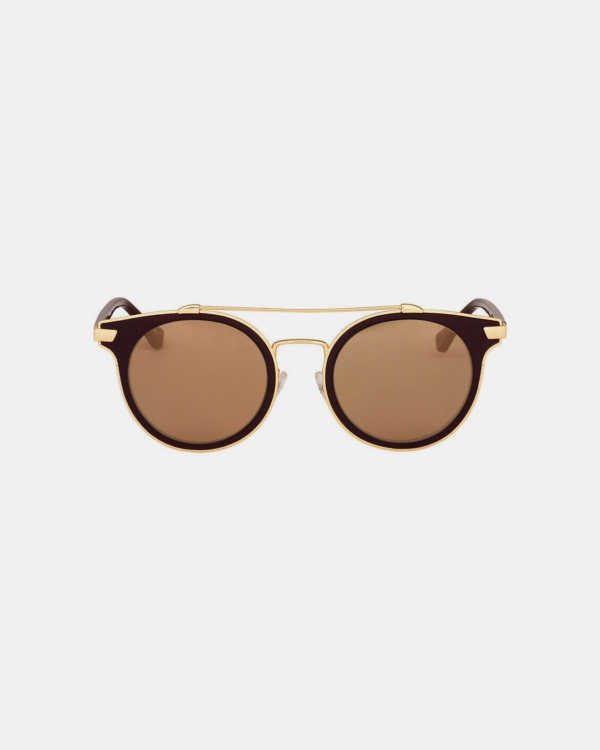 Calvin Klein Platinum Metal Frame Brown Sunglasses