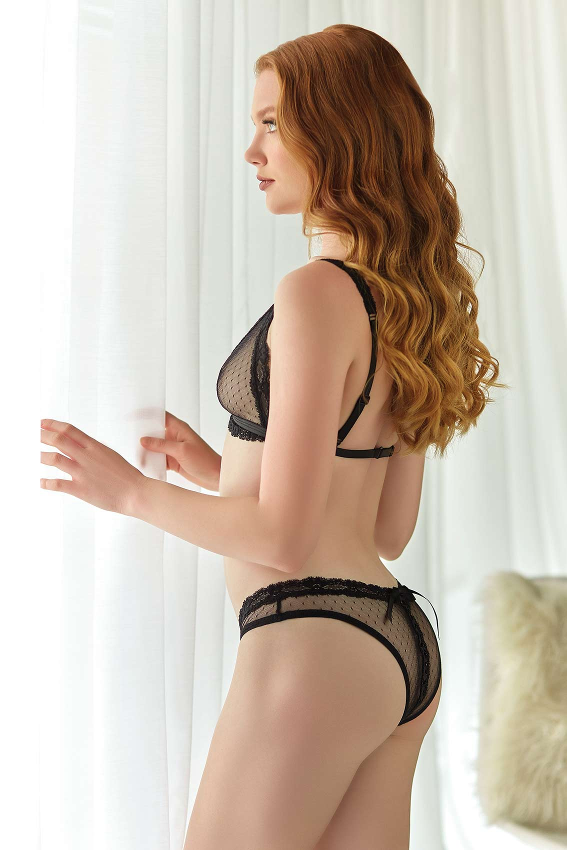 Camille Mesh Bralette & Open Lace-up Panty