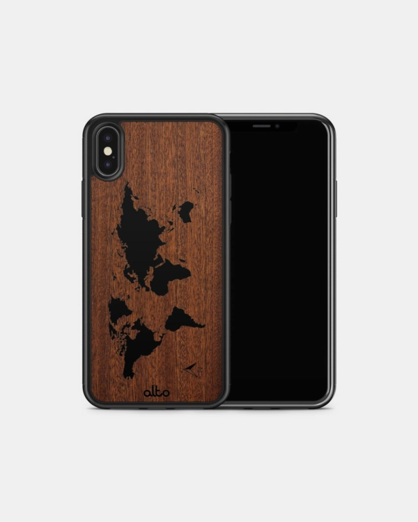 Durable Real Wood Phone Case - Mahogany World Map
