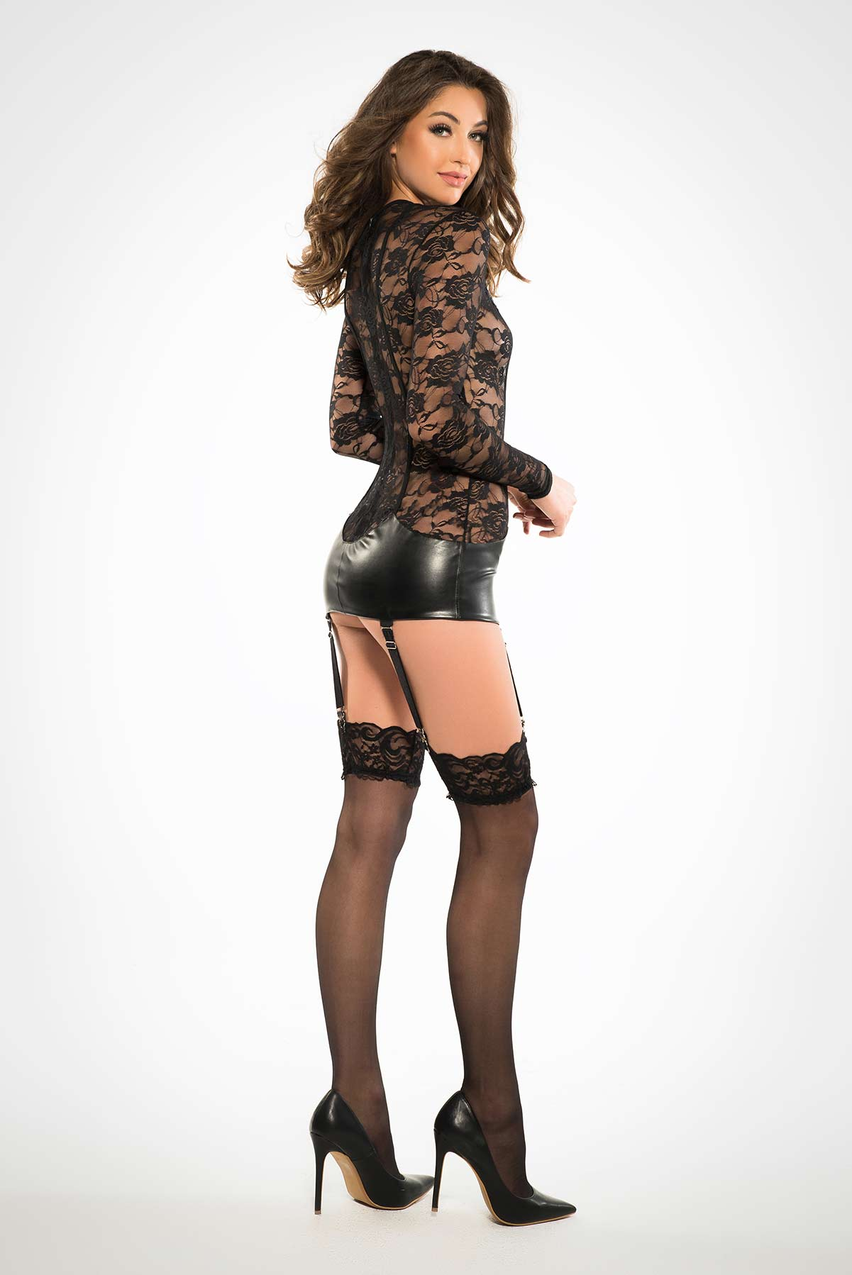 Lace Corselette Inspired Dress With Garters