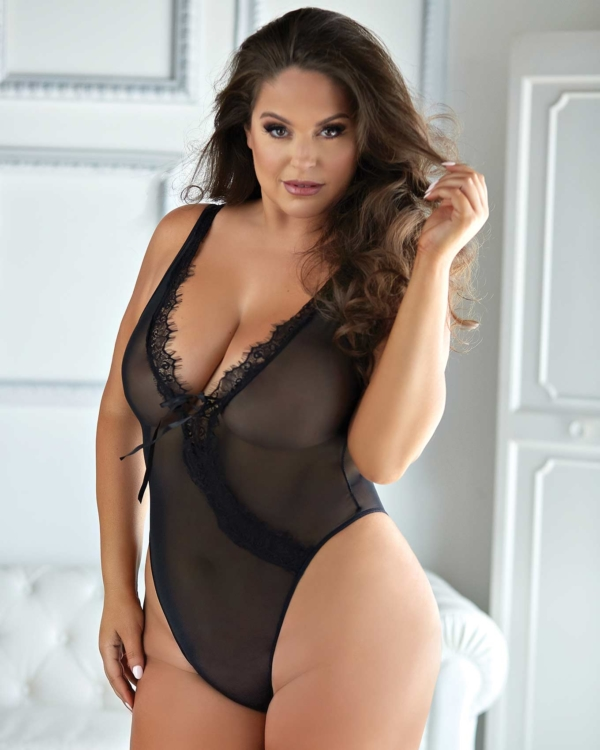 Leilani Mesh & Eyelash Lace Open Teddy
