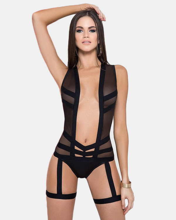 Mapalé Bodysuit with Garter - Black