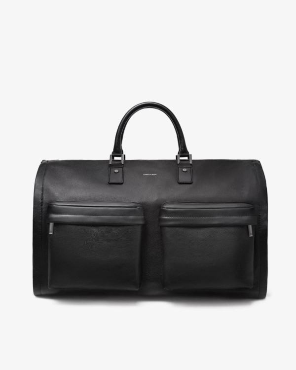 Men's Black Leather Garment Weekender Bag