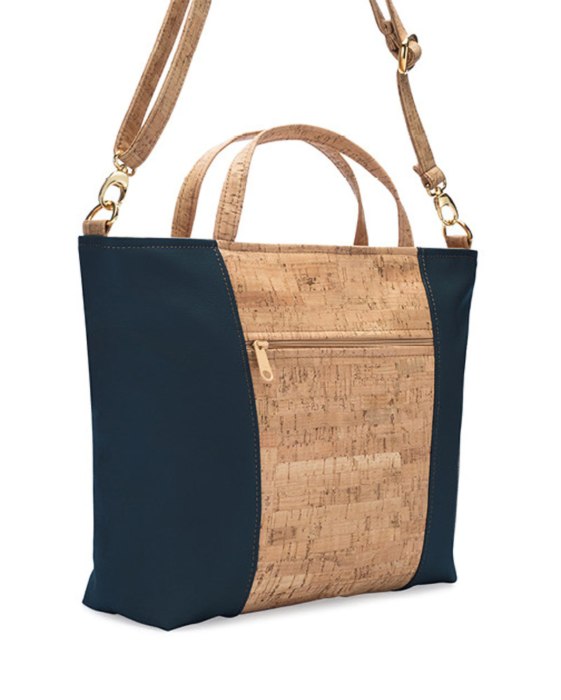Natalie Therese Three-Strap Handbag - Rustic Cork Faux Leather