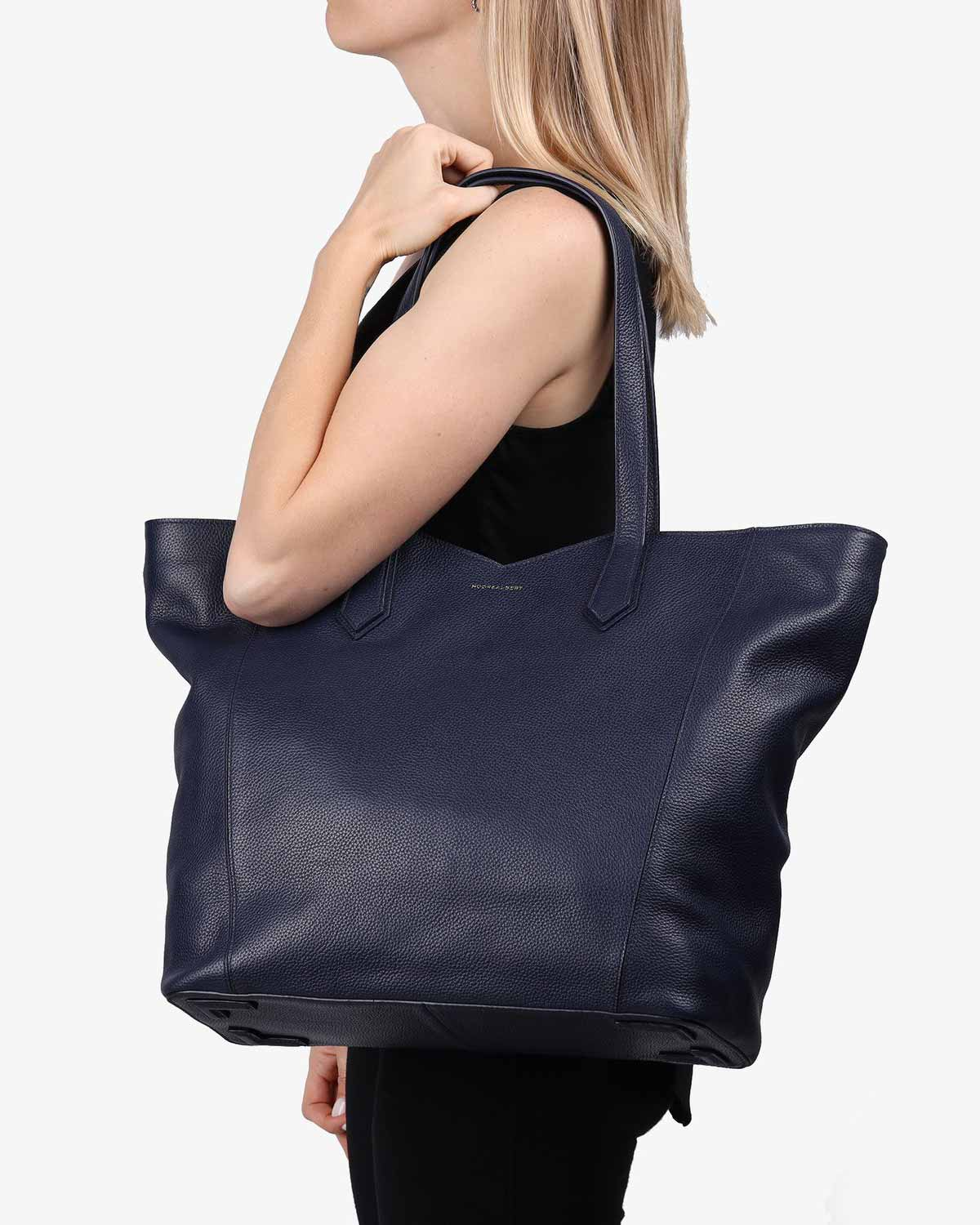 Navy Leather Zippered Tote Bag