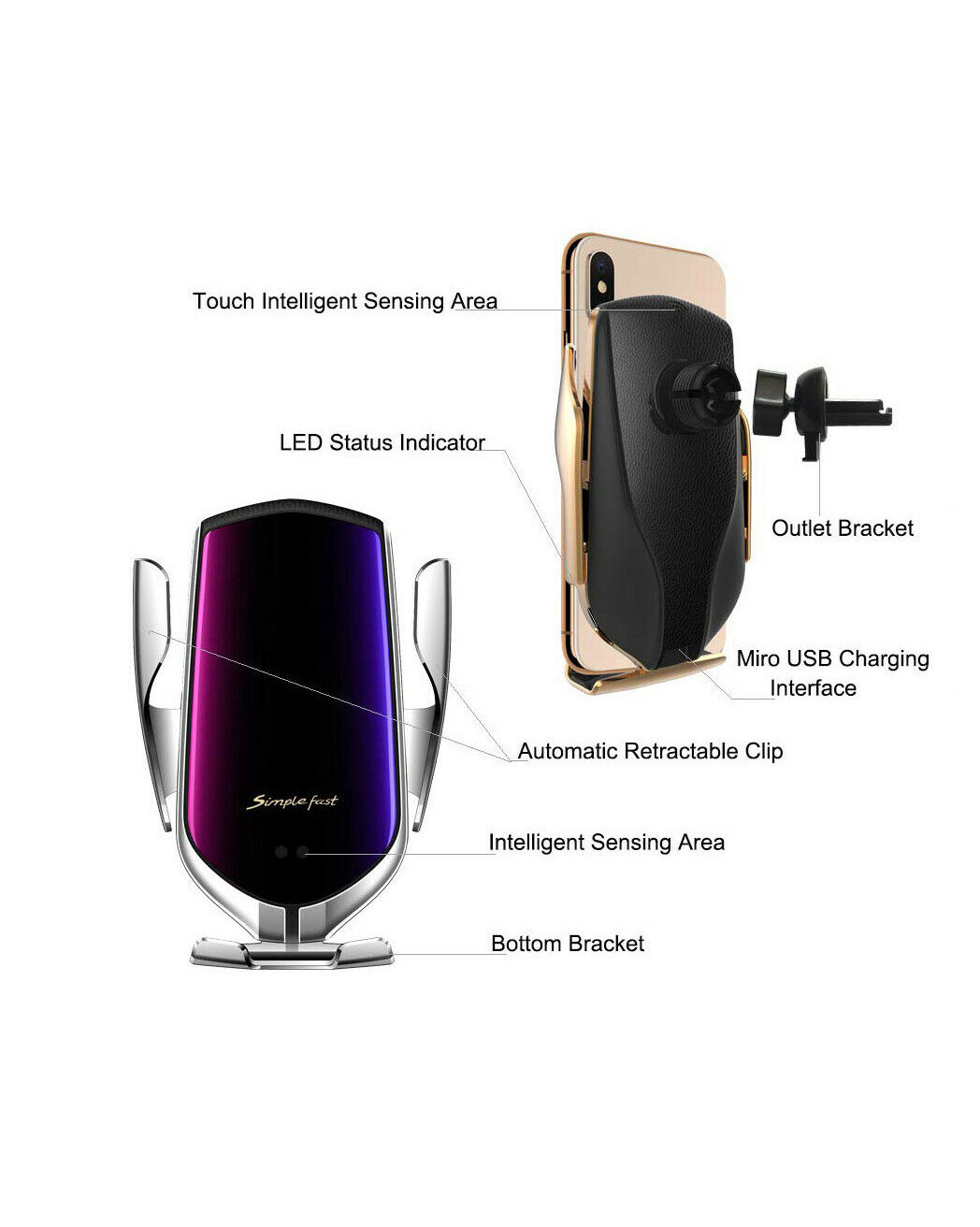 Qi Wireless Automatic Clamping Car Charger