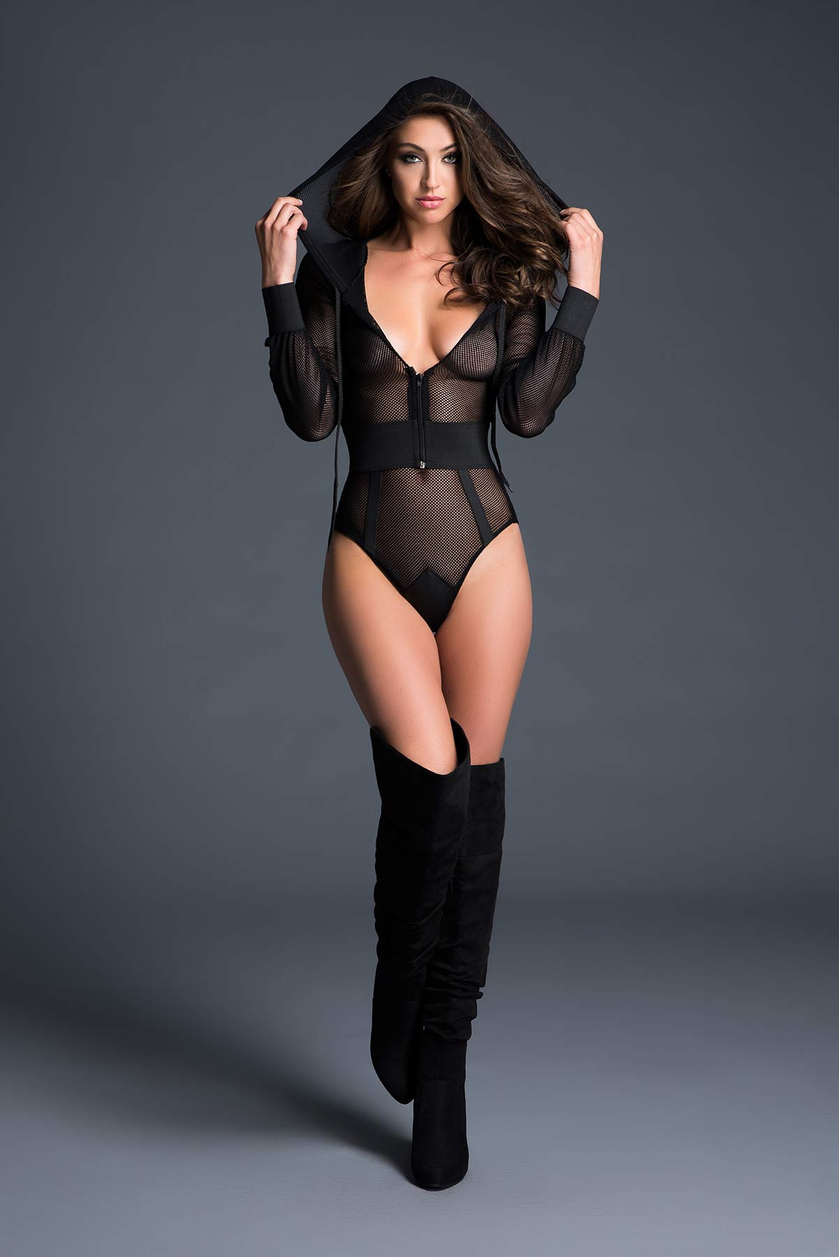 Sweet & Delicious Fishnet Body With Hoodie & Cut Out Back
