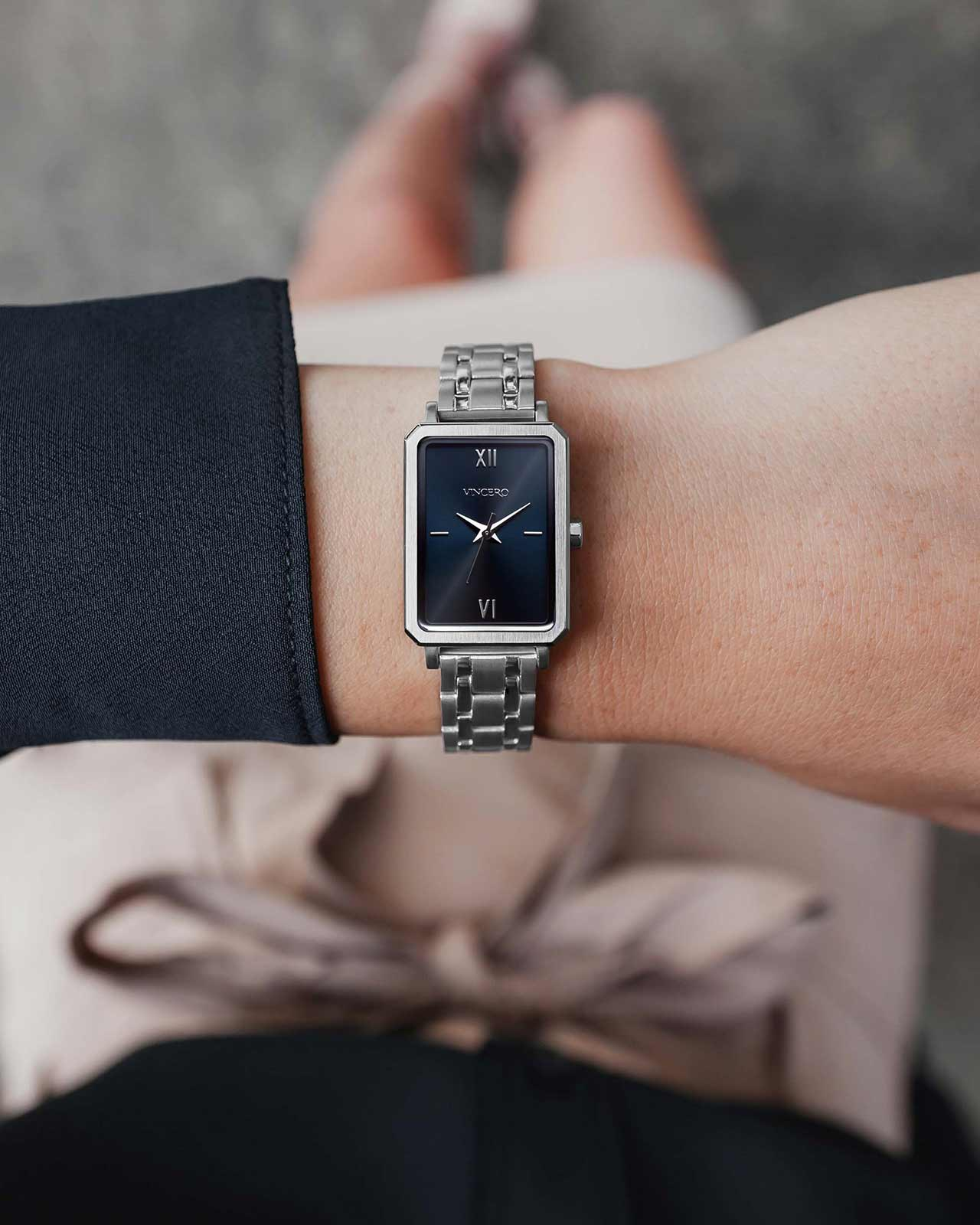 The Ava Petite Brushed Silver + Turkish Blue