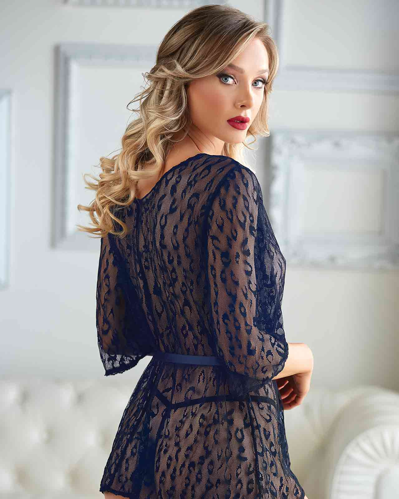 Valentina Leopard Lace Robe with G-string