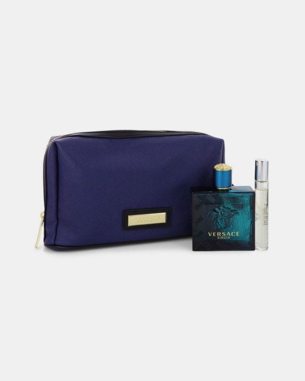 Versace Eros by Versace -- Gift Set - 3.4 oz Eau De Toilette Spray + 0.3 oz Mini EDT Spray in Pouch for Men