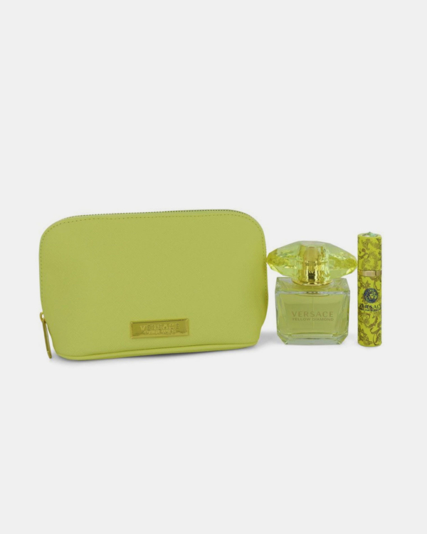 Versace Eros Perfume Gift Set - 3.4 oz Eau De Parfum spray + 0.3 oz Mini EDP Spray In Versace Yellow Pouch