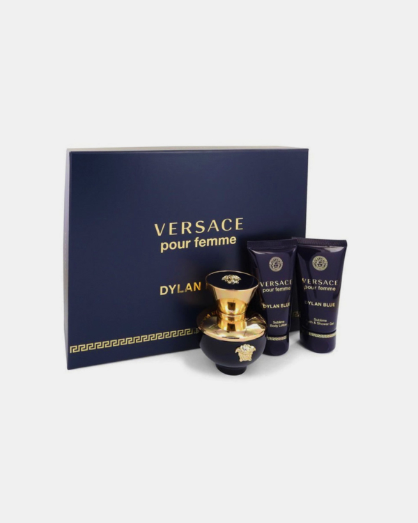 Versace Pour Femme Dylan Blue by Versace -- Gift Set - 1.7 oz Eau De Parfum Spray + 1.7 oz Body Lotion + 1.7 oz Shower Gel for Women