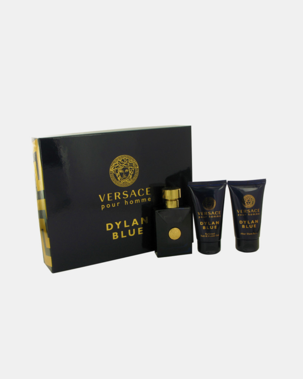 Versace Pour Homme Dylan Blue by Versace -- Gift Set - 1.7 oz Eau De Toilette Spray + 1.7 oz After Shave Balm + 1.7 oz Shower Gel for Men