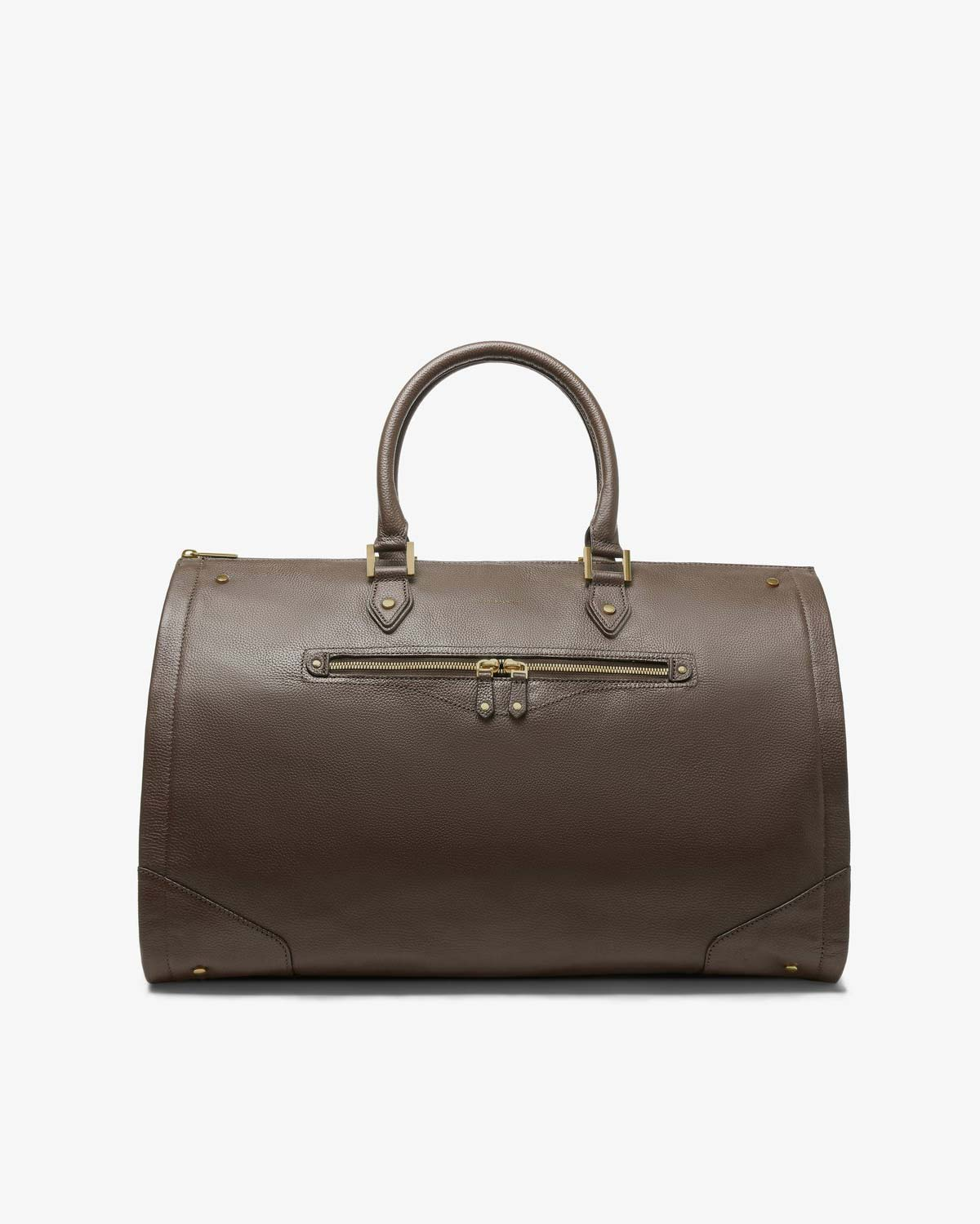 Women's Taupe Leather Garment Weekender Bag