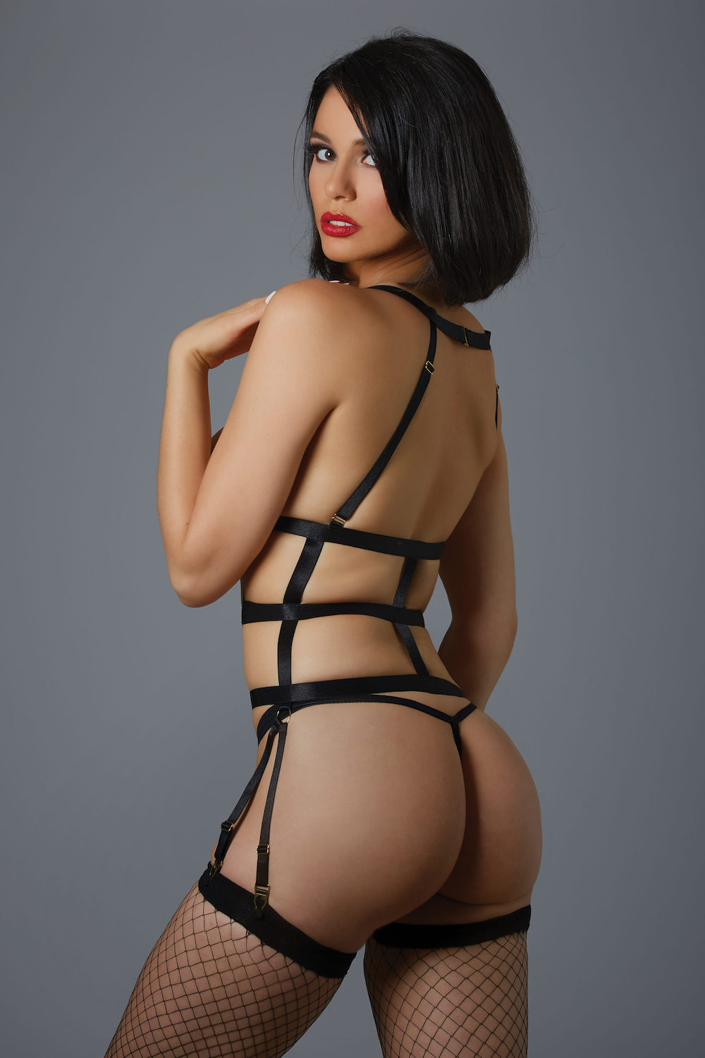 One Night Stand Corselette and G-String - Black 1