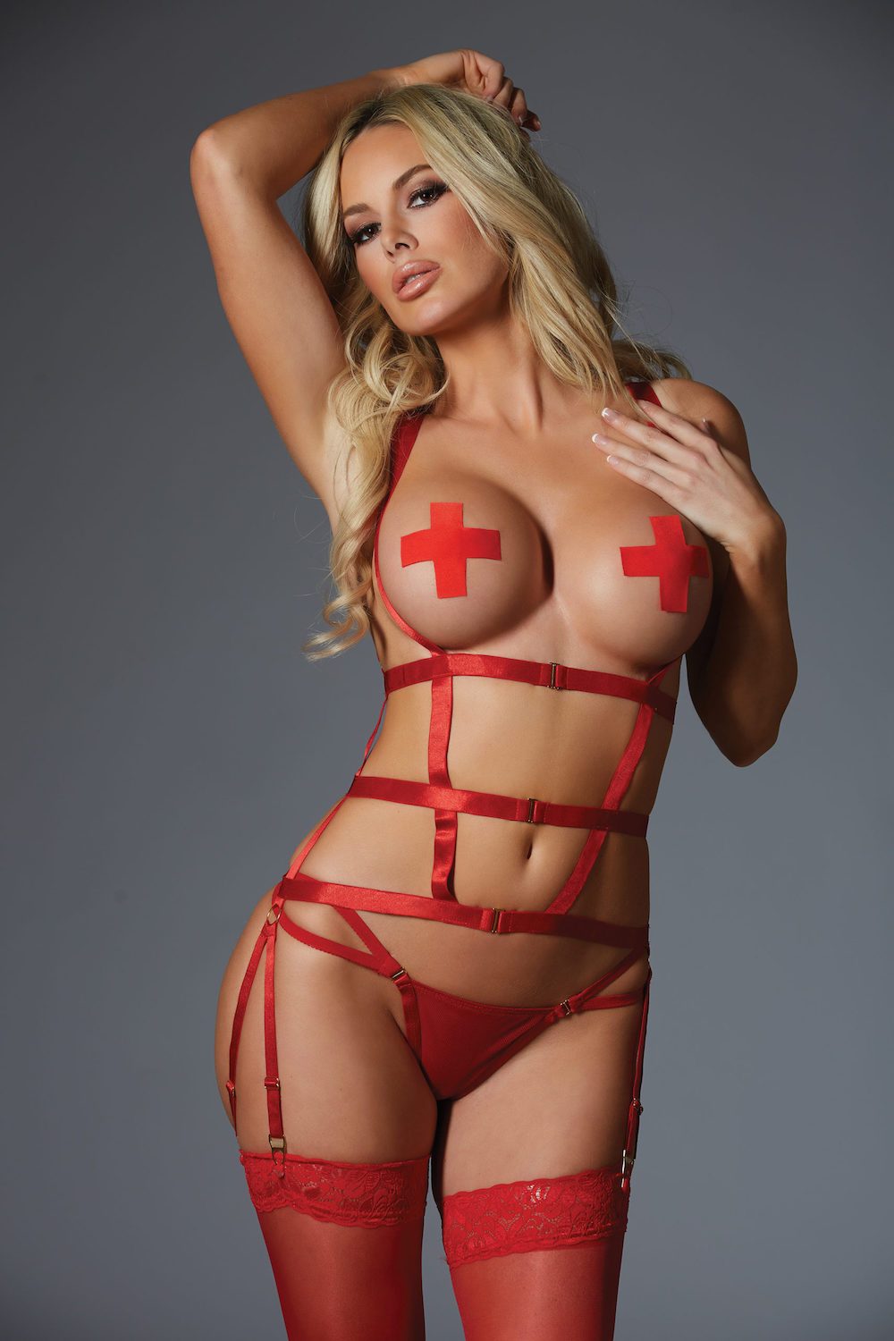 One Night Stand Corselette and G-String - Red 2