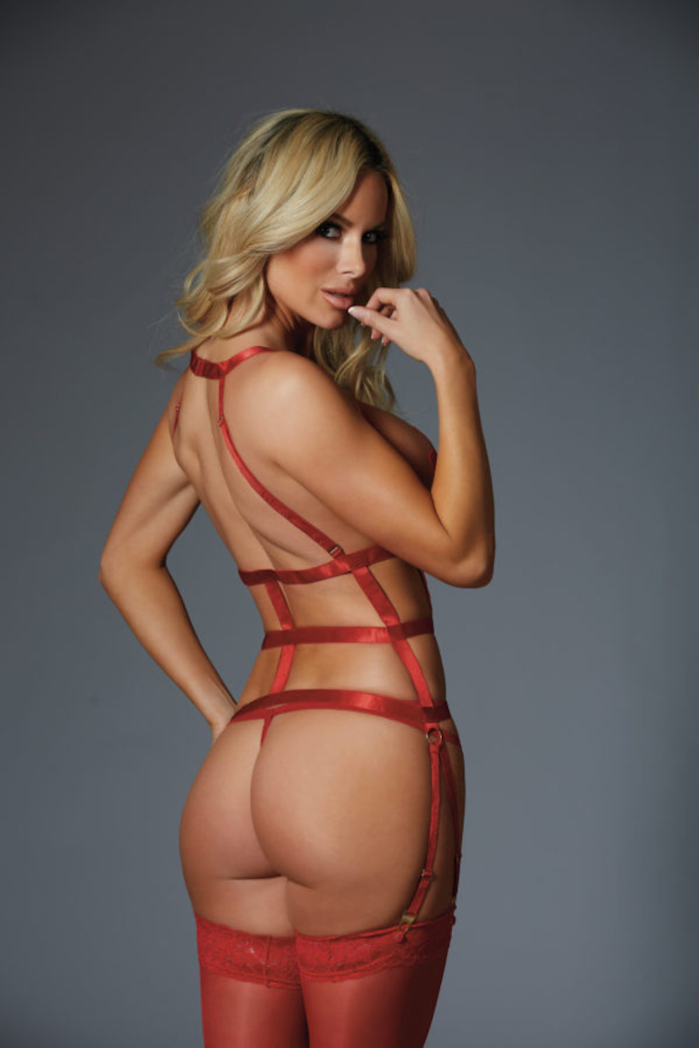 One Night Stand Corselette and G-String - Red 1