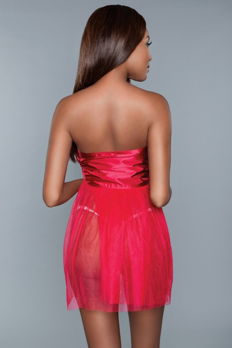 Strapless Ribbon Dress - Red 2